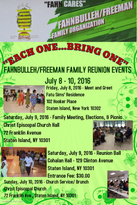 Poster of activities for 2016 reunion fahnbulleh freeman family poster of activities for 2016 reunion m4hsunfo